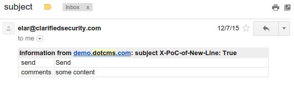 CVE-2016-4803 dotCMS - email header injection vulnerability