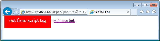 Reflected XSS / JavaScript injection with Internet Explorer